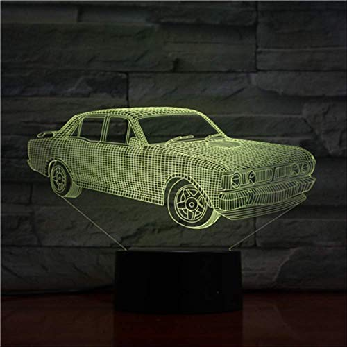 Luz nocturna Lámpara 3D para niños Regalos para papá 7 colores Cambio Lámpara 3D Visualización increíble Ilusión óptica acrílica con cable USB Soporte Batería 3AA