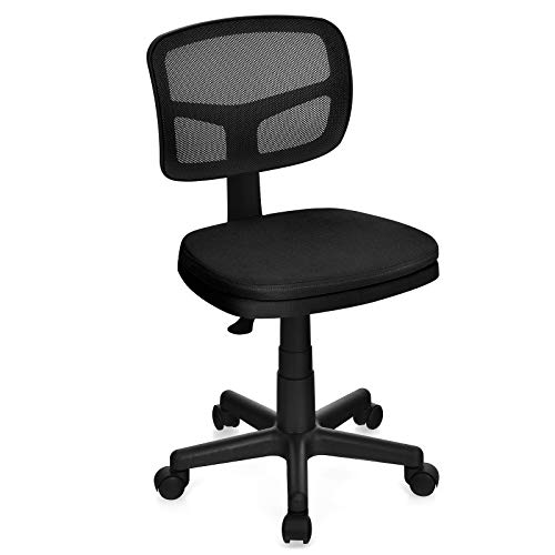 Giantex Armless Office Chair, Low-Back Computer Chair Ergonomic Small Task Chair with Adjustable Height, Y-Shaped Support for Adults and Kids, 360° Swivel Home Office Desk Chair (Black)