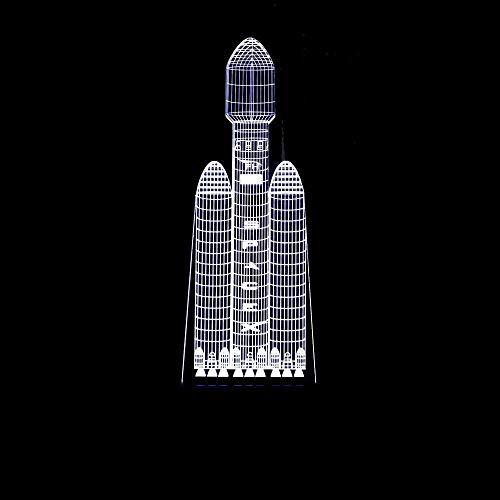 Palm kloset Lámpara de Mesa Cohete Nave Espacial estereoscópica 3D LED Colorido gradiente de la lámpara de Escritorio de la Cama de la luz de la Noche táctil a Distancia USB imaginativamente Decorado