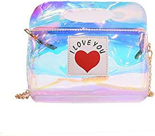Gimax Shoulder Bags - Mara's Dream Women Transparent Bag PVC Jelly Small Tote Messenger Bags Laser Holographic Shoulder Bags Female Lady Sac Femme - (Color: A Silvery, Size: Small Size)