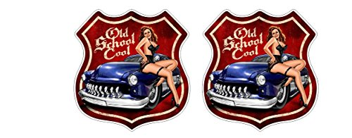 Oldschool Muscle Car Vintage Pinup Babe Skull Rat Aufkleber Sticker + Gratis Schlüsselringanhänger aus Kokosnuss-Schale + Auto Motorrad Laptop Tuning Biker Rockabilly Bobber 1% MC Lone Wolf
