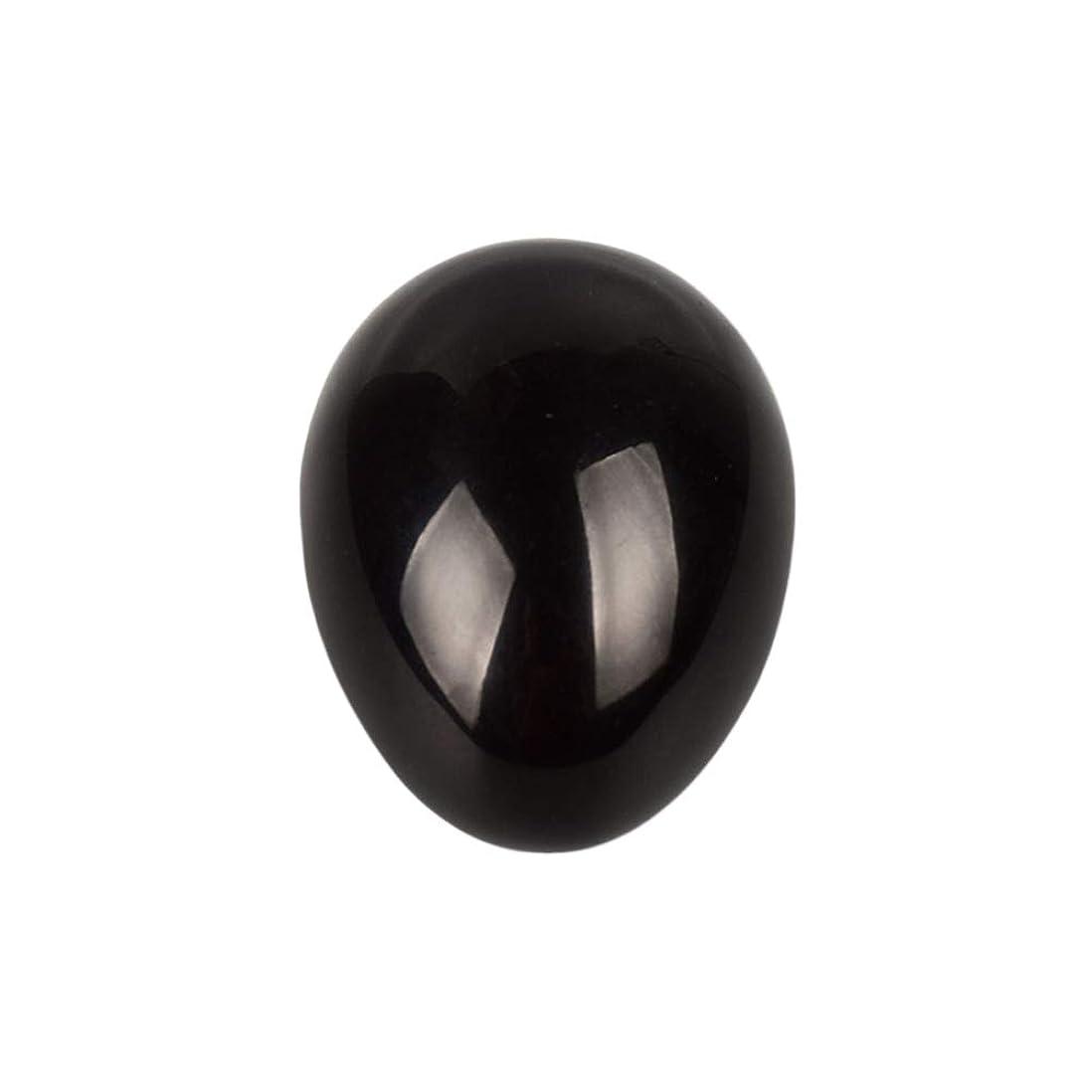 アセ消毒する謎めいたHealifty 癒しの瞑想のための黒い黒曜石の宝石の卵球チャクラのバランスと家の装飾45 * 30 * 30ミリメートル