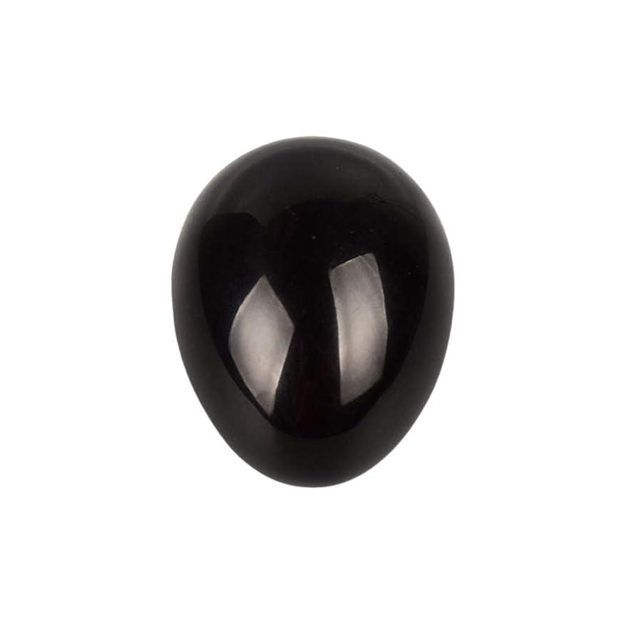 延ばす囚人下位Healifty 癒しの瞑想のための黒い黒曜石の宝石の卵球チャクラのバランスと家の装飾45 * 30 * 30ミリメートル