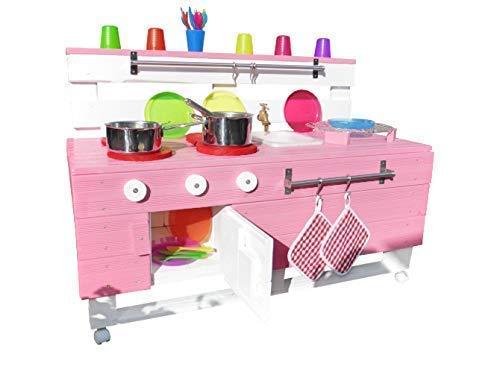 Palettenmöbel – Holz Kinderküche Matschküche PL Rosa für Garten Kita Kindergarten