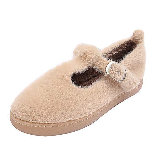 UELEGANS Zapatillas De Estar por Casa para Mujer Slippers Comodos Pantuflas Zapatillas Invierno Peluche Algodón Mujer Casa Zapatos Antideslizante,Apricot,36