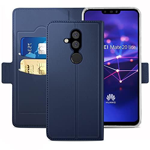 YATWIN für Huawei Mate 20 Lite Hüllen Premium Leder Flip Schutzhülle mit Kreditkarten, Geldfächern & Standfunktion für Huawei Mate 20 Lite Handyhülle, Blau