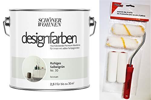 Schöner Wohnen designfarben hochdeckende feinmatte Wandfarbe für innen 2,5 Liter mit go/on Rollen-Set 5-tlg (Nr 30 Ruhiges Salbeigrün)