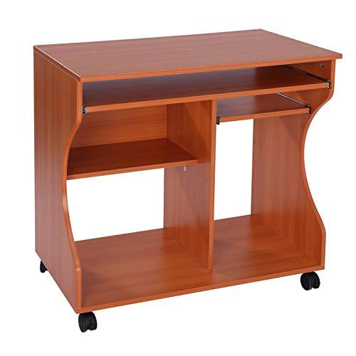 Yhjkvl Escritorio de ordenador con ruedas de cerezo y madera mesa de oficina en casa