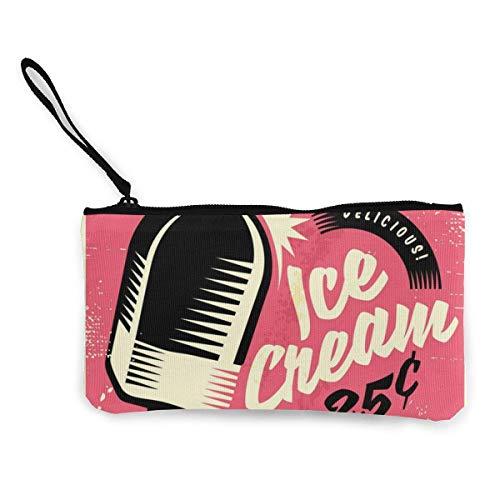 BHGYT Cartel de Chapa Retro de los años Cincuenta con Delicioso Helado Personalidad de Mujer y niña Moda Retro Pequeño Mini Zip Cuadrado Monedero Monedero Regalos Monedero Monedero Bolso pequeño Maq