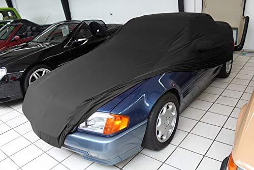 AMS Vollgarage Mikrokontur® Schwarz mit Spiegeltaschen für Mercedes SL Cabriolet R129, schützende Autoabdeckung mit Perfekter Passform, hochwertige Abdeckplane als praktische Auto-Vollgarage