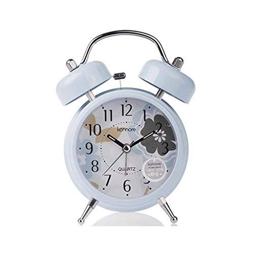 Despertador JXLBB Lago Azul Luz Nocturna Fluorescente Flor Silencio Pequeño Fresco Puro Azul Mini Campana Doble Reloj Mediterráneo