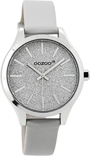 Oozoo Mädchen-/Damenuhr mit Lederband 35 MM Glitzer/Hellgrau JR295