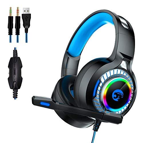A60 auriculares para juegos, auriculares estéreo para juegos envolventes con micrófono con cancelación de ruido, luces LED, compatibles con Xbox One, PS4, Nintendo Switch, PC Mac Juegos de computadora