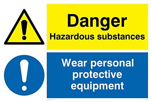Viking segni cn655-a2l-v'pericolo sostanze pericolose, indossare dispositivi di protezione individuale' Sign, vinile/adesivo, 600mm altezza x 400mm larghezza