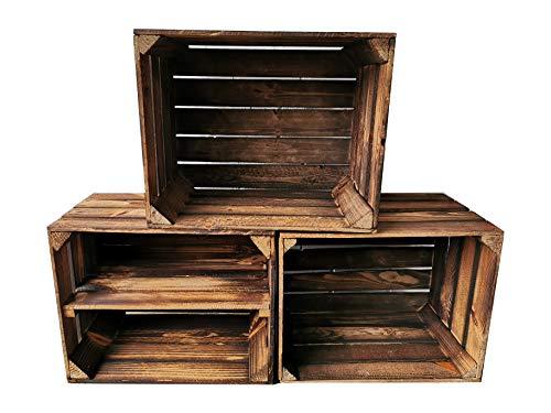 Alte geflammte Obstkisten/Holzkisten mit Zwischenboden LANG verarbeitet - Ideal für den Möbelbau - Tolle Set-Angebote (3er Set / 1 x Boden Lang)