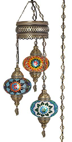 DEMMEX Turkish Moroccan Mosaic Swag Plug in Chandelier Light Ceiling Hanging Lamp Pendant Fixture, 3 Big Globes (3 X 7' Globes Swag)