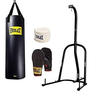 Everlast Single-Station Heavy Bag Stand and 100lb Heavy Bag Kit Value Bundle