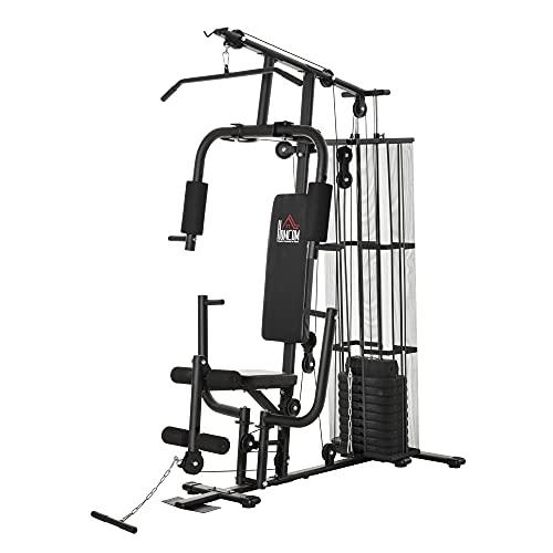 HOMCOM Gym Kraftstation Fitnessstation Multigym Fitnesscenter Fitnessgerät inkl. Gewichten Latzug Beincurl Metall PU-Kunstleder Schwarz 150 x 110 x 210 cm