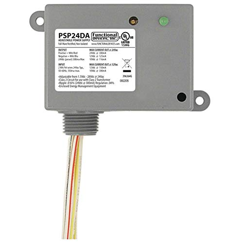 Functional Devices PSP24DA DC Power Supply, Non-Isolated Linear, 24 Vac to 1.5-28 Vdc Adjustable Output, NEMA 1 Housing