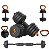 Adjustable Dumbbells Weights Dumbbells Set,66 Lbs Barbell Weight Set with Connecting Rod - for Home...