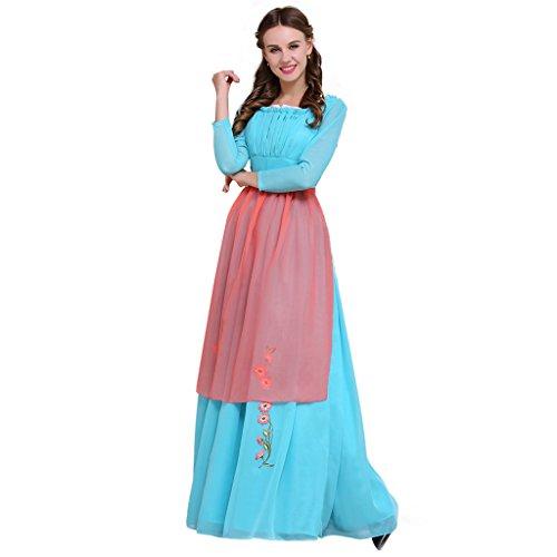 Fortunehouse Disfraz de Cenicienta para adultos con delantal de princesa azul vestido de Cenicienta