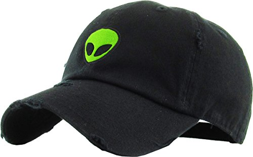 KBSV-042 BLK Alien Vintage Dad Hat Baseball Cap Polo Style Adjustable
