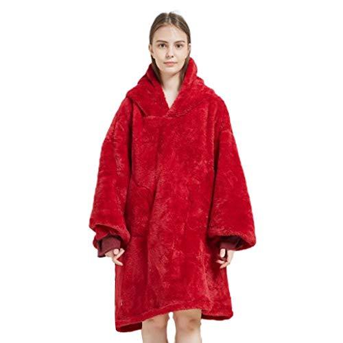 JYDQM Manta Perezosa suéter con Capucha Ocio cálido Pijama TV smbalet otoño e Invierno Material cálido Peluche de Color sólido (Color : Red)