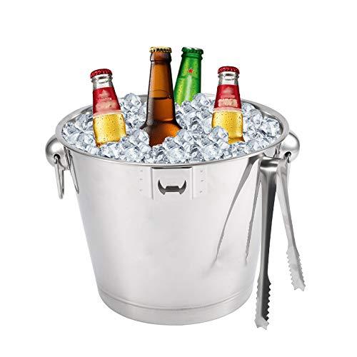 Cubitera con pinzas y abrebotellas, recipiente para cubitos de hielo, de acero inoxidable, para fiestas, 6 litros