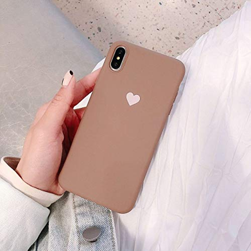 WGOUT Funda de teléfono TPU para iPhone XR XS MAX 7 8 6 6S Plus SE 2020 12 Mini Funda de té de Leche con Dibujos Animados de corazón para iPhone 11 Pro Shell Fundas, 22, para iPhone 12 Mini