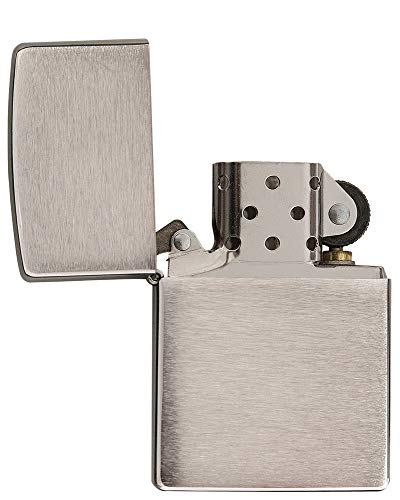 Zippo Windproof Lighter Metal Long Lasting Zippo Lighter Best with Zippo Lighter Fluid Refillable Lighter Perfect for Cigarettes Cigar Candle Pocket Lighter Fire Starter Classic Chrome Designs