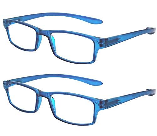 TBOC Gafas de Lectura Presbicia Vista Cansada - (Pack 2 Unidades) Graduadas +4.00 Dioptrías Montura de Pasta Azul Patillas Extra Largas Colgar Cuello Hombre Mujer Unisex de Aumento Leer Ver Cerca