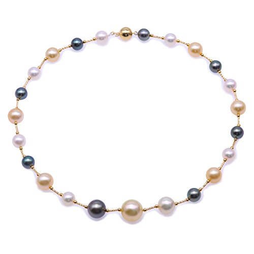 JYX - Collana girocollo con perle rotonde di qualità AAA da 8,5 a 13,5 mm, colore: oro e bianco, perla coltivata del mare del Sud e perle nere di Tahiti con catenina in oro giallo da 45 cm