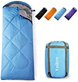 Yvibra Sleeping Bag for Adults & Kids - 3 Seasons Warm Cool Weather - Summer, Spring, Fall, Waterproof, Lightweight, Portable, Camping Gear Equipment for Sleepover, Hiking, Backpacking