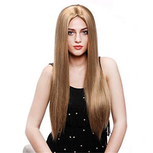 YaPin Perruques Perruque de Cheveux Haute Droite européenne et américaine de la Fibre Chimique Mesdames Longue Perruque de Cheveux Brun doré