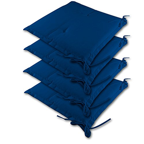 Detex® Stuhlauflagen Sydney 4er Set Wasserabweisend Kissen Sitzkissen Stuhlkissen Auflage Sitzauflage blau