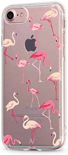 AVANA Kompatibel mit iPhone SE 2020 / iPhone 8 / iPhone 7 Hülle Schutzhülle Flexibles Case Schutz Durchsichtige Transparente Silikon TPU Muster Handyhülle Clear Cover Motiv (Flamingo)