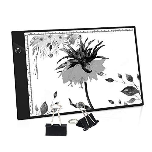 PullPritt A4 Tavoletta Luminosa, LED Lavagne Luminose Regolabile per Disegno, Ultrasottile Light Board Tavola Disegno, A4 Tracing Light Box per Artisti, Disegno, Animazione, Abbozzare, Progettazione