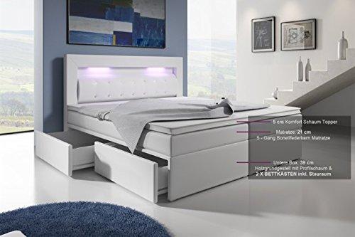 Boxspringbett mit Bettkasten 180×200 Weiß LED Kopflicht Glasstein Hotelbett Neapel - 4