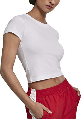 Urban Classics Damen Ladies Stretch Jersey Cropped Tee T-Shirt, White, S