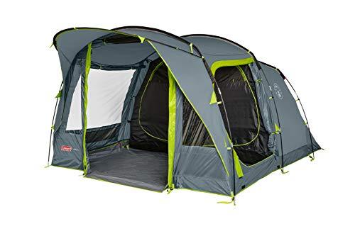 Coleman Vail 4 - Tienda de campaña para 4 Personas (2 Compartimentos Extra Grandes para Dormir y vestíbulo, Montaje rápido, Resistente al Agua WS 4000 mm), Color Gris