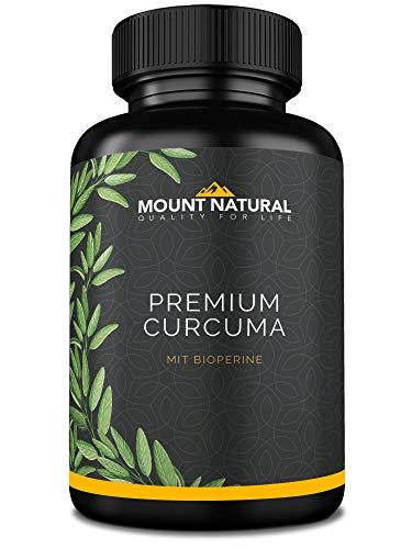Mount Natural Curcuma Kapseln Hochdosiert, Vegan. Kurkuma Pulver + 95% ig Curcumin Extrakt (Entspricht Ca. 13.000mg/Tag) + Piperin, Laborgeprüft & Hergestellt In Deutschland