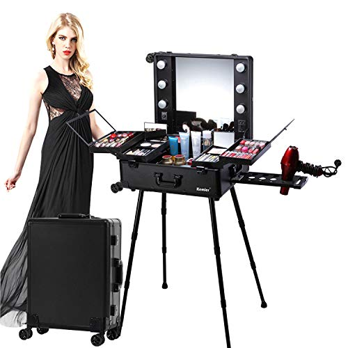 Kemier Makeup Case,Professional Artist Studio Cosmetic Train Table w/4 Rolling...