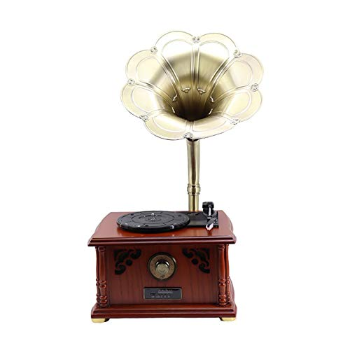 Feixunfan Tocadiscos Reproductor de grabación Solid Wood Speaker Bluetooth Vinyl Record Player Player Fonograph Retro Reproductor de grabación para Discos de Vinilo
