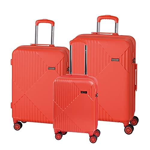 Check.in Liverpool - Juego de Maletas con Ruedas (3 Piezas), Color Rojo