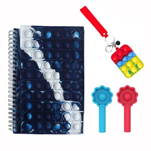 spier Cuaderno sensorial Push Bubble Fidget con Llavero, Tapa de bolígrafo, Papel reglado Universitario, Juguete para aliviar el estrés para la Escuela, la Oficina en casa