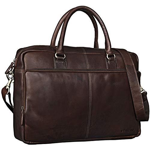 STILORD 'Aaron' Umhängetasche Leder 15,6 Zoll Laptoptasche Aktentasche Bürotasche Unitasche mit Schultergurt Business Vintage, Farbe:Cognac - Dunkelbraun