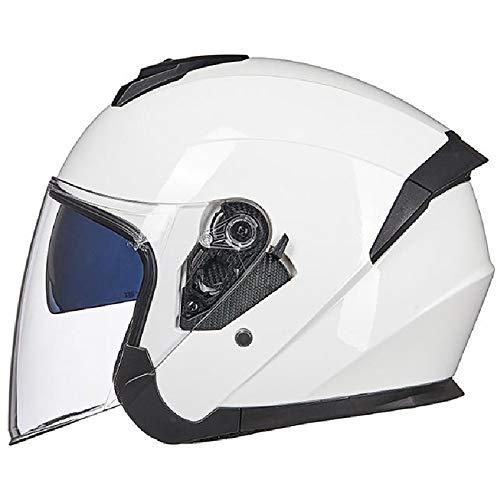LUNANA Unisex Casco Integral para Motocicleta ECE Homologado Full-Face Helmet con Viseras Duales para Motocross Ciclomotor y Scooter Bicicleta (57-62cm)