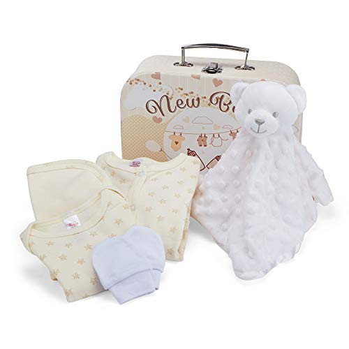 Cesta para Bebé para Regalo de Baby Shower con Accesorios para Recién Nacido – Incluye Manta de Seguridad Dodou – Body para Bebé – Pijama para Bebé – Babero de Algodón y Manoplas
