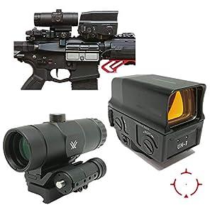 [AERITH BLACK] UH-1 タイプ with VMX 3T タイプ セット レプリカ ドットサイト ダットサイト マグニファイア Magnifire マウントスペーサー付 3倍 ブースター スコープ ブラック 刻印入り UH1 3T (BK)