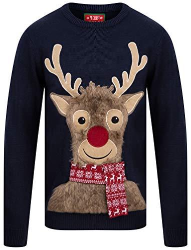 Tokyo Laundry - Maglione natalizio con renna e scritta 'Merry Christmas' Eclipse Blue S